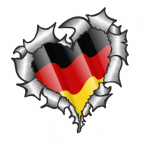 Ripped Torn Metal Heart with Waving Germany German Country Flag Motif External Car Sticker 105x100mm